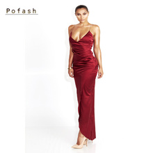 Pofash 2017 New Autumn Elegant dress velvet Sleeveless Night Club Wear Clothing package hip Female Bodycon Dress red green color