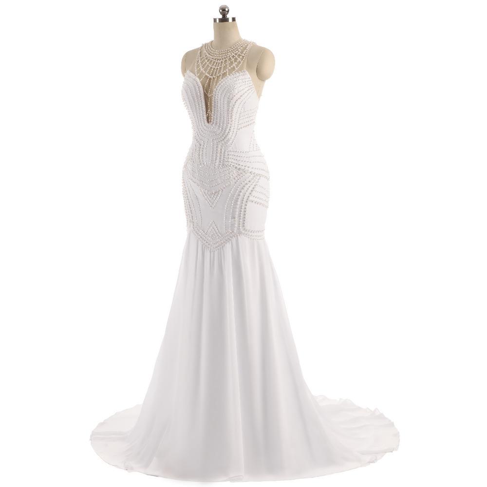 Lover Kiss Vestido De Noiva Sheer Neck Sexy Wedding Dress Pearls Mermaid Sleeveless Wedding Dresses Wedding Dress 4