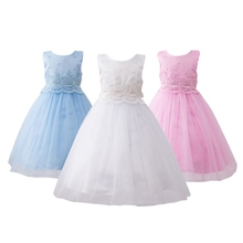 3 Colors Pink White Blue Cute Solid Girls Princess Ball Gown Dresses Kids Sleeveless O-neck Formal Party Bowknot Dresses