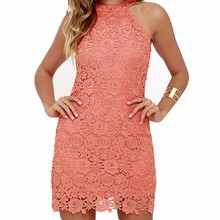 Buy Loneyshow Womens Elegant Wedding Party Sexy Night Club Halter Neck Sleeveless Sheath Bodycon Lace Mini Summer Dress