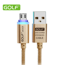 Golf Original Crystal LED light Micro V8 USB data Cable Metal Nylon cable 2.1A charger for Samsung Galaxy HTC Sony Xiaomi Meizu