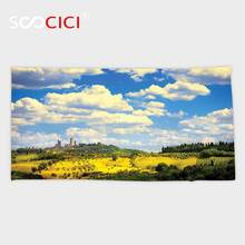 Custom Microfiber Ultra Soft Bath/hand Towel,Tuscan Decor Old Italian Village Scenery with Meadows and Clouds Mediterranean