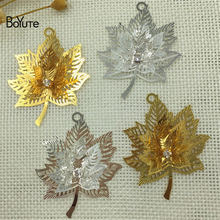 BoYuTe 10Pcs 45*35MM Filigree Brass Maple Leaf Pendant 2 Colors Etched Sheet Diy Pendant Charms