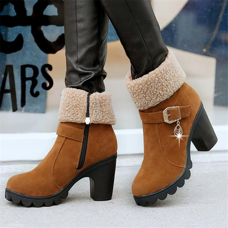 2017 New Autumn Winter Women Boots High Quality Solid Lace-up European Ladies shoes PU Leather Fashion Boots Free Shipping<br><br>Aliexpress