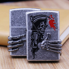 ZORRO Vintage Kerosene Lighters Gasoline Etching Metal Lighter Death Scythe Kerosene Cigarette Lighter Smoker Best Gift(China)
