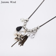 Janewu Wind Butterfly metal tassel flower pearl crystal Choker Necklace Women Crystal pendant Necklace female