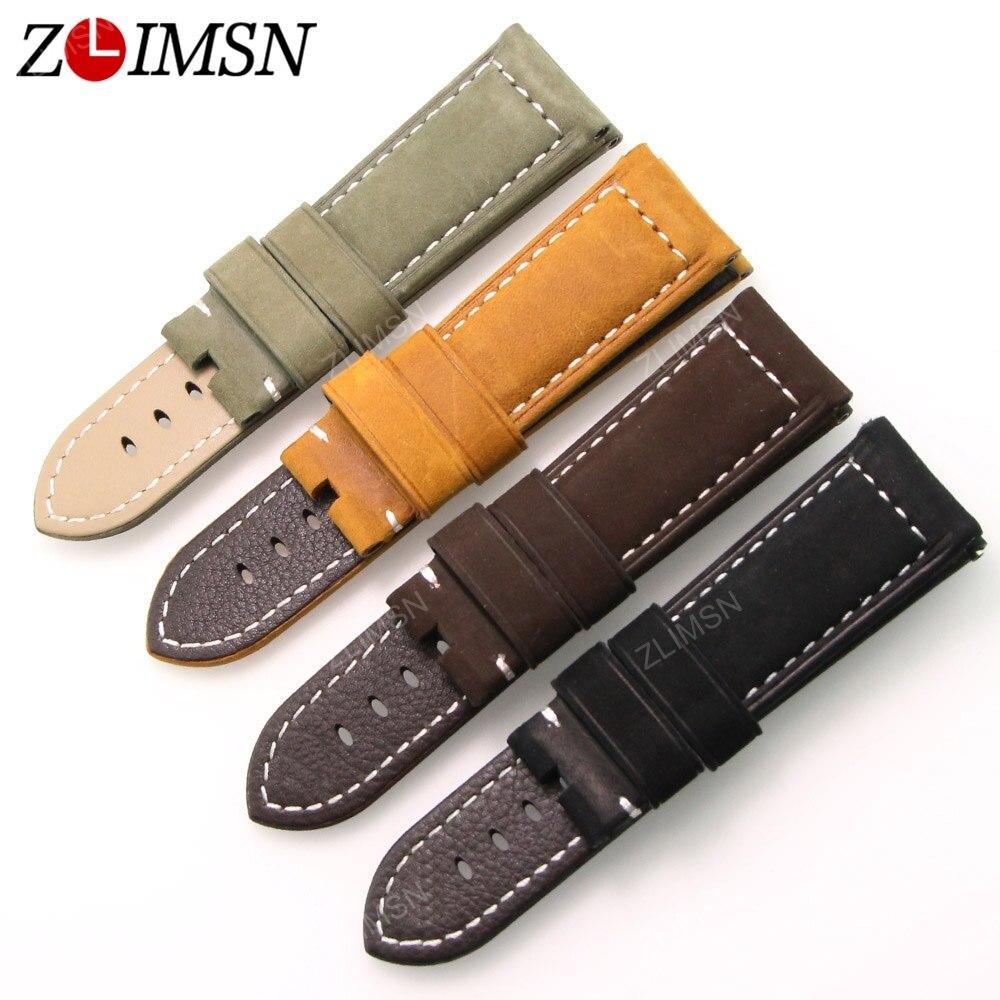 ZLIMSN Genuine Leather Watch Band Strap Men Sport Thick Black Yellow Coffee Suede Watchbands 22mm 24mm Belt Relogio<br><br>Aliexpress