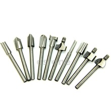 "HSS Router Bits Wood Cutter Milling Fits Dremel Rotary Tool Set 10pcs 1/8"" 3mm(China)"