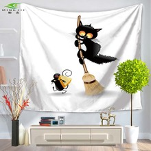 Cat And Mouse Designs Print Wall Tapestry Fabric Indian Bedroom Decor Hippie Tapestries Cartoon Wall Hanging Table Cloth 2 size