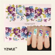 YZWLE Water Transfer Nail Decals, Purple Flower Designs Watermark Nail Art Stickers Tattoos Decorations Tools For Polish(China)