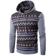 2017 New Style Men Hoodies Fashion Hoodies & Sweatshirts Casual Ethnic Style Pattern Print Fitness hoody coat Jacket(China)