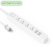 NTONPOWER ODPC USB Surge Protector Smart Power Strip US Plug 4 AC Outlet 4 Charging Port with Overload Switch-1.5M Power Cord