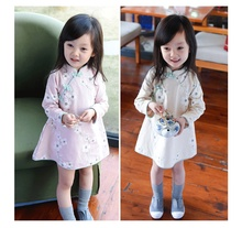 New arrive Spring Autumn Baby Girl Chinese style cheongsam Girls Flower Fashion dress Kids Long Sleeve Dresses retail/wholesale