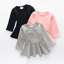 Autumn baby girls cotton dress candy color long sleeves baby girls dresses kids casual basic clothing