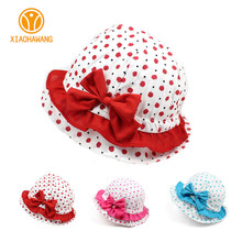 Dot Baby Girls Caps Cotton Girls Hats Summer Baby Hats With Bow 2017 Spring Sunscreen Beanies Baby Accessories Girls Clothing(China)