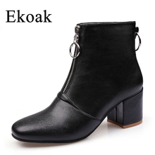 Ekoak 2017 Autumn Winter Women Ankle Boots Ladies High Heels Shoes Woman Fashion Zip Motorcycle Boots Women Leather Rubber Boots