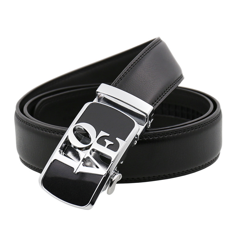 Romantico Mens Fashion Automatic Buckle Leather Luxury Man cinturones hombre Black white Belt Alloy buckle Belts for Men,white,125cm