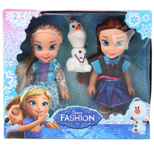 Disney 15cm Frozen Princess Elsa Anna Doll Ice and Snow Dolls Model Toys for Girl Christmas Gift Box(China)