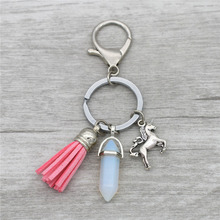 New Fashion Natural Opal Stone Jewelry Antique Silver Cute Unicorn Horse Pink Blue Tassel Pendant Car Keychains Key Chains Rings(China)