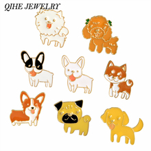 QIHE JEWELRY Poodle Pomeranian Corgi Bulldogs Dog Brooches Hard Enamel Pin Lapel Pin Badge Gift For Lovers of Dog(China)
