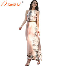 Buy 2018-19 Summer Women Dress Bohemia Chiffon Floral Print Halter Tunic Sleeveless Pleated Long Maxi Party Boho Dresses Belt for $17.25 in AliExpress store