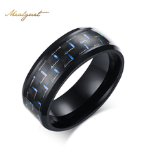 Meaeguet Fashion Black Simple Men Ring 8mm Men Jewelry Stainless Steel Rings Carbon Fiber Wedding Engagement Ring 3 Colors
