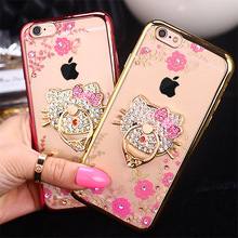Hot New TPU Flower Ring Peacock Diamond Cases For iphone 6 6s 7 Plus Metal Rotated Kitty Finger Stand Holder Cover For iPhone 6s
