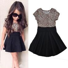 2017 newest design girls leopard frocks children clothes hot baby dresses personality baby clothes dresses