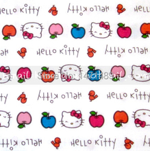 hk126 - 1 Yard Cotton Fabric - Sanrio Cartoon Characters, Hello Kitty and Apple - White (W105)