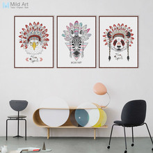 Modern Indian Hippie Fashion Animals Deer Hear Zebra Cat A4 Wall Art Print Poster Pictures Canvas Painting Home Decor No Frame(China)