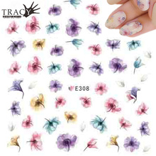 Retail 1 Sheets Hot  Designs Nail Sticker Flower Colorful Purples Beauty Stamp DIY Tips Decals TRE308
