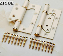Free Shipping 2pcs/lot  Ivory White Mute Bearing Stainless Steel Door Hinge Loose Leaf Hinge 4 Inch * 3mm