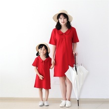 2017 Spring Autumn brand cotton sport solid red dresses clothing woman girls mother daughter polo dress family matching clothes