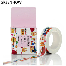 GREENHOW household products Pattern Japanese Washi Decorative Adhesive Tape DIY Masking Paper Tape Label Sticker Gift 3016(China)