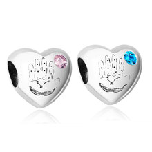 IT 'S A GIRL Heart with Pink Blue Crystal 100% 925 Sterling Silver Charm Beads Fits Original Pandora  Charms Bracelet Berloque