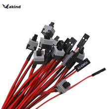 VAKIND 10pcs/set Chassis Computer Power Switch Host Switch Line Re-starting AXT Power Cord Cable Supplies for Computers