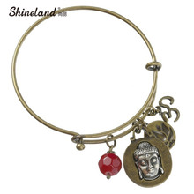 Fashion New Arrival Vintage Style Adjustable Buddha Bracelets With Antique Gold Silver For Women Bracelets Trendy Accessories(China)