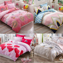 Lovely Pink Ethnic Medallion Red Hearts 4Pc Twin/Full/Queen/King Size Bed Quilt/Duvet/Doona Cover Set & Sheet Shams Cartoon Bear