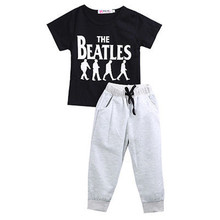 2PCS/SET Baby Boy Kid Short Sleeve Sportswear Clothes T-shirt Top Short Pants Outfit 1-6Y BEATLES(China)