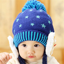 babe bonnet Child Winter cap Keep Warm Bear protects ear Hats Star pattern bonnet Toddler Kids Crochet Knitted Caps  for baby