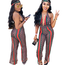 Buy Sexy Halter Backless Deep V Neck Mesh Jumpsuit Sexy Halter Romper Women Printed Summer Playsuit Green Red Stripe