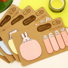 Creative lovely Sticky Notes Cartoon rabbit Memo Pad Paper Sticker Kraft paper indicates Wall stickers Fridge N times(China)