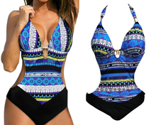 Halter Triangle Cup Padded Women's Monokini Swimwear Swimsuit Bathing Suit Tie