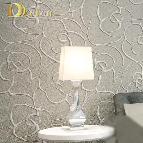 European 3D Wallpaper Flower Pattern Living room Modern Home Decor Embossed Floral Wall Paper Rolls Grey Brown Wallcovering<br>
