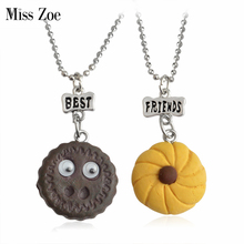 Miss Zoe 2pcs/set BEST FRIENDS Chocolate Biscuits with Eyes Cookies Pendant Necklaces BFF Friendship Jewelry Christmas Gift