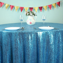 "Teal Blue - 108"" Round Glitz Sequin TableCloths Banquet Table covers Christmas Birthday Wedding Party Decoration(China)"
