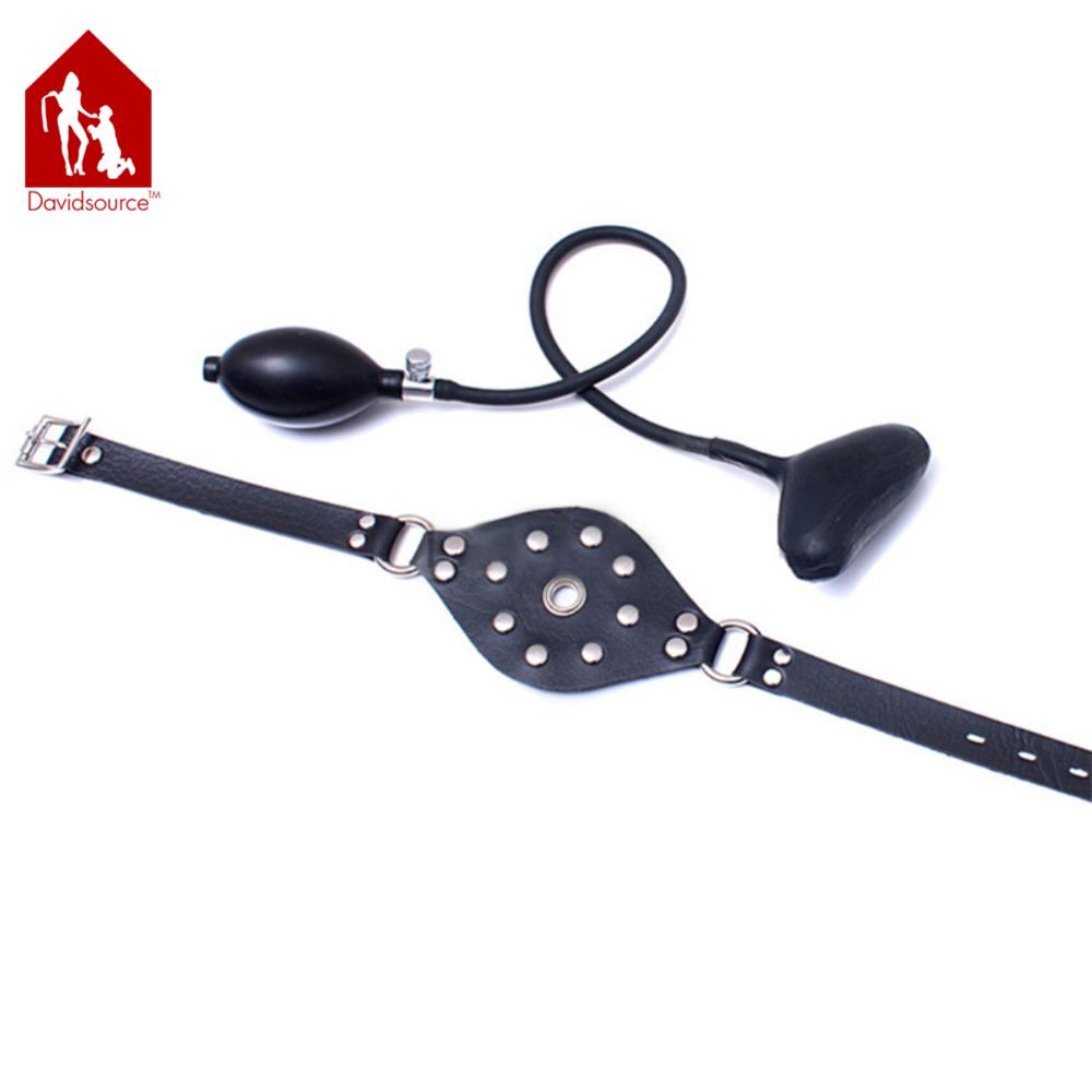 Davidsource Inflatable Mouth Gag Black Adjustable Lockable Belts Submissive Slave Training Bondage Restraint Kit Sex Toy 4