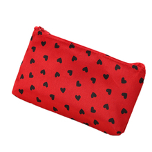 Heart Shaped Dots Printing Pencil Bags Portable Multifunction Beauty Travel Cosmetic Makeup Bag School Supply