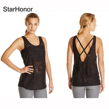 StarHonor Sports Bras Yoga Shirts Running Backless Across Straps Jogging Tank Tops Quick Dry Racerback Sport Wear Fitness Vest