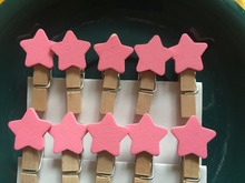 Wooden Clips 30pieces Pink Star Memo Clamp,Photo Paper Wooden Pegs,Scrapbooking Clips for Wedding Party Decoration Favors